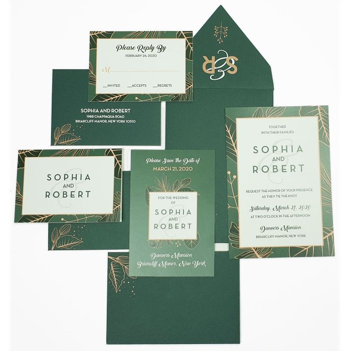 GREEN WHITE MATTE WEDDING INVITATION : ALFRESCO - 123WeddingCards