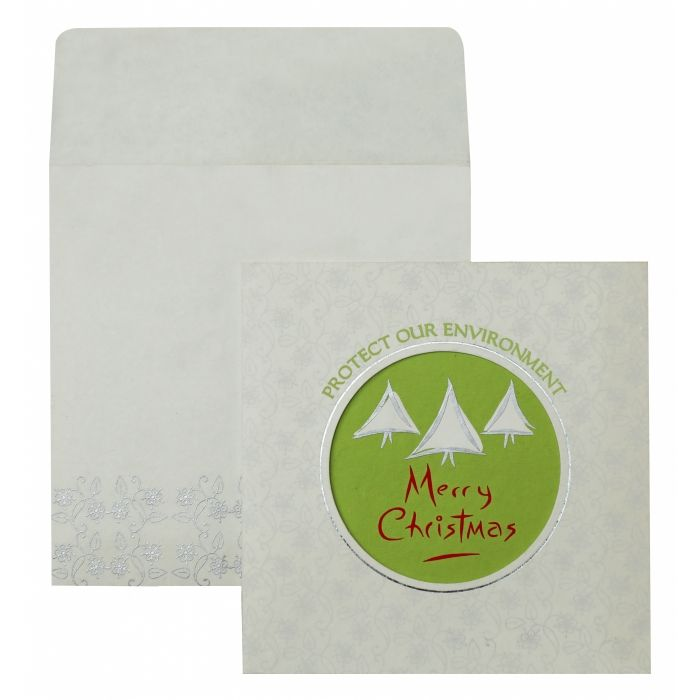 WHITE HANDMADE COTTON FLORAL THEMED - FOIL STAMPED HOLIDAY CARDS : H-847 - 123WeddingCards
