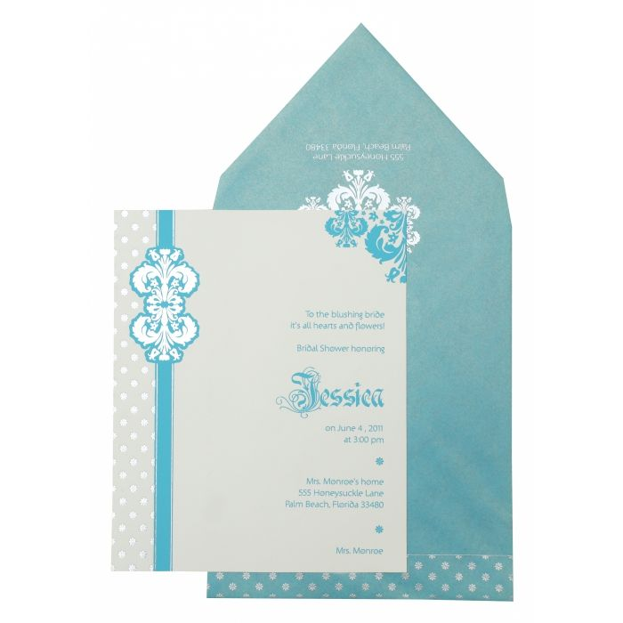 WHITE MATTE PAISLEY THEMED - FOIL STAMPED PARTY CARDS : PY-877 - 123WeddingCards