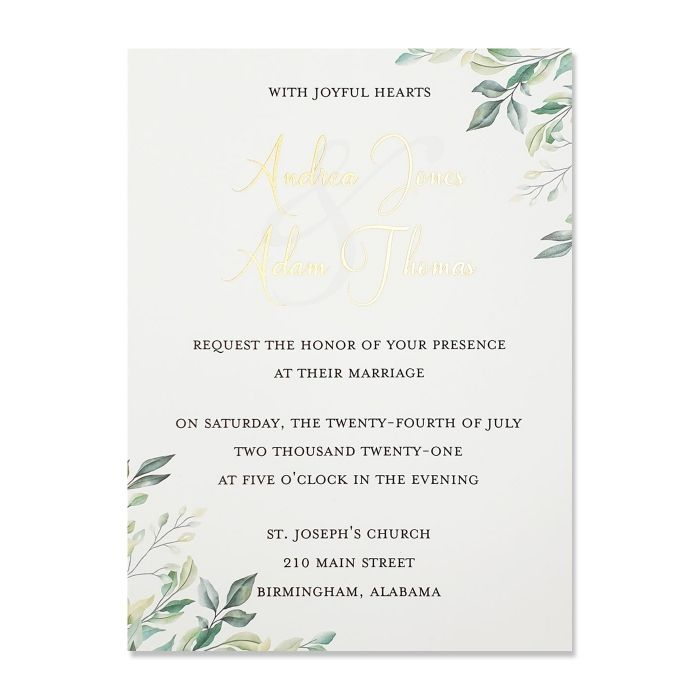 WHITE MATTE SCREEN PRINTED WEDDING INVITATION : C-GREEN_VINES - IndianWeddingCards