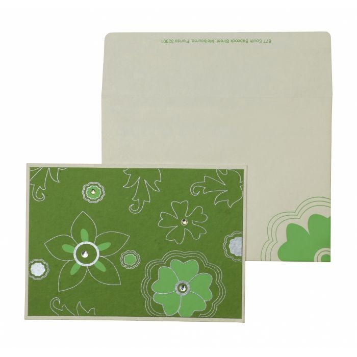 PARROT GREEN WHITE HANDMADE COTTON FLORAL THEMED - SCREEN PRINTED HOLIDAY CARDS : CH-848 - IndianWeddingCards