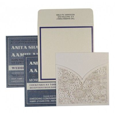 WHITE SHIMMERY LASER CUT WEDDING INVITATION : C-1593 - 123WeddingCards