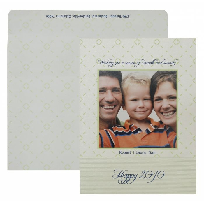 WHITE SHIMMERY SCREEN PRINTED HOLIDAY CARDS : CH-868 - IndianWeddingCards