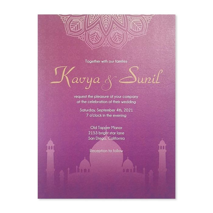 WHITE SHIMMERY WEDDING INVITATION : C-MODERN_MARBLE - IndianWeddingCards
