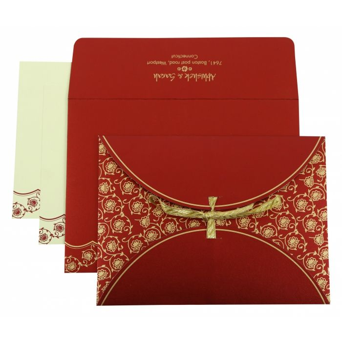 WINE RED SHIMMERY BUTTERFLY THEMED - SCREEN PRINTED WEDDING INVITATION : CIN-821D - IndianWeddingCards