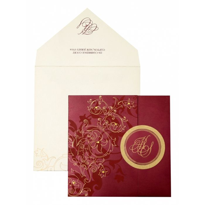 WINE RED SHIMMERY FLORAL THEMED - SCREEN PRINTED WEDDING INVITATION : CW-843 - IndianWeddingCards