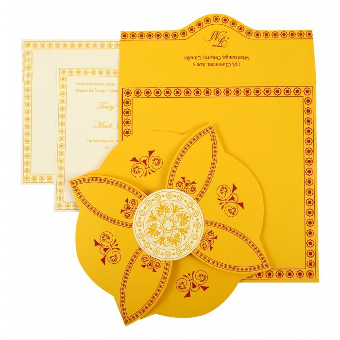YELLOW BUTTERFLY THEMED - SCREEN PRINTED WEDDING INVITATION : I-820C - 123WeddingCards