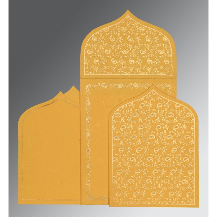 YELLOW HANDMADE SILK PAISLEY THEMED - GLITTER WEDDING INVITATION : CS-8208N - IndianWeddingCards