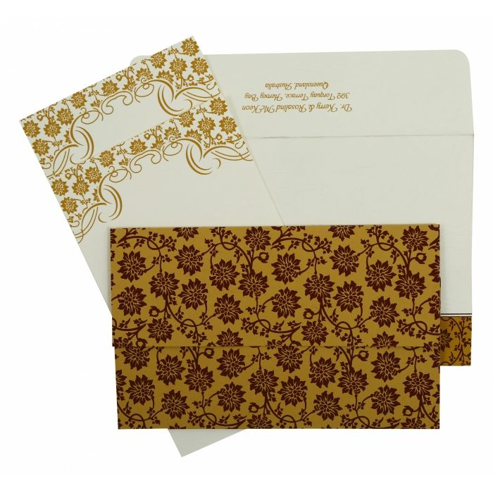 YELLOW MATTE FLORAL THEMED - SCREEN PRINTED WEDDING INVITATION : W-810C - 123WeddingCards