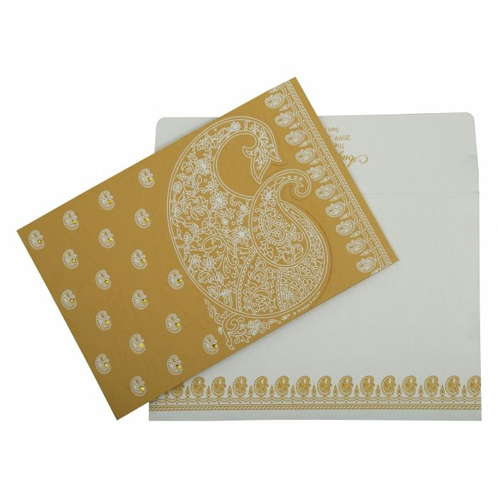 YELLOW MATTE PAISLEY THEMED - SCREEN PRINTED WEDDING INVITATION : D-807C - 123WeddingCards