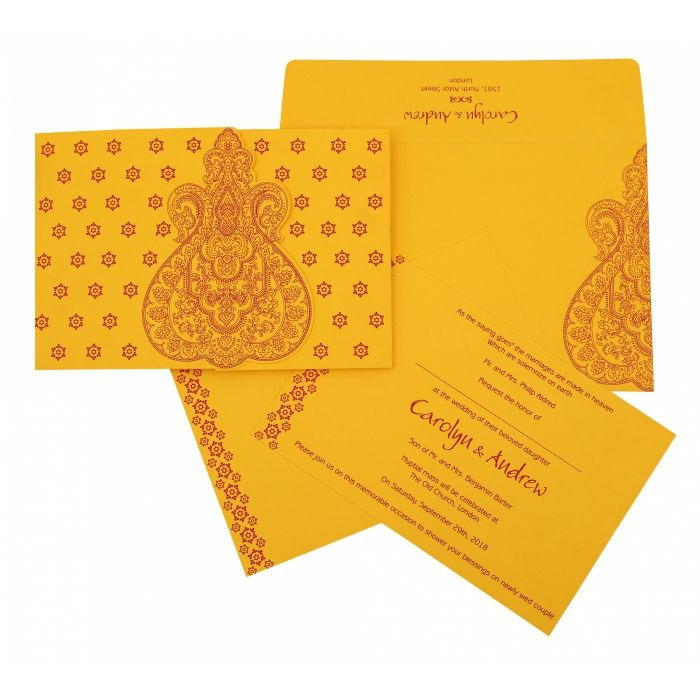 MUSTARD YELLOW PAISLEY THEMED - SCREEN PRINTED WEDDING INVITATION : D-801A - 123WeddingCards