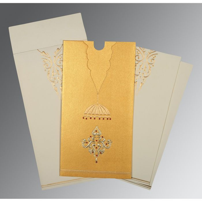YELLOW GOLD SHIMMERY FOIL STAMPED WEDDING CARD : CIN-1350 - IndianWeddingCards