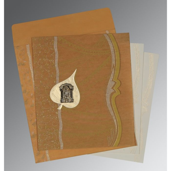 MUSTARD YELLOW SHIMMERY EMBOSSED WEDDING CARD : CSO-8210O - IndianWeddingCards