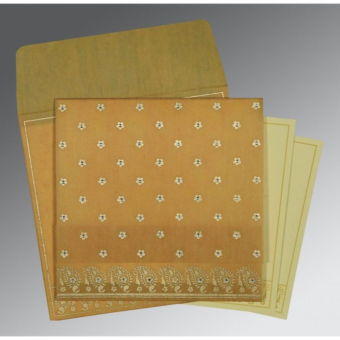 SATIN GOLD WOOLY FLORAL THEMED - SCREEN PRINTED WEDDING CARD : CD-8218N - IndianWeddingCards