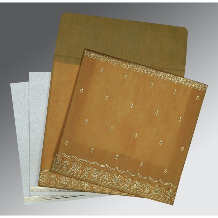 COPPER WOOLY FOIL STAMPED WEDDING CARD : CG-8242D - IndianWeddingCards