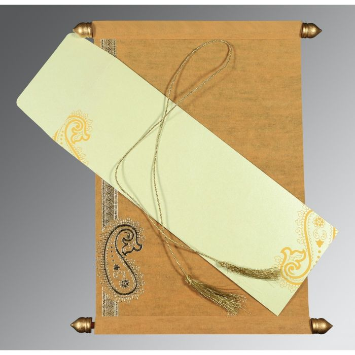 YELLOW WOOLY FOIL STAMPED WEDDING CARD : SC-5015M - 123WeddingCards