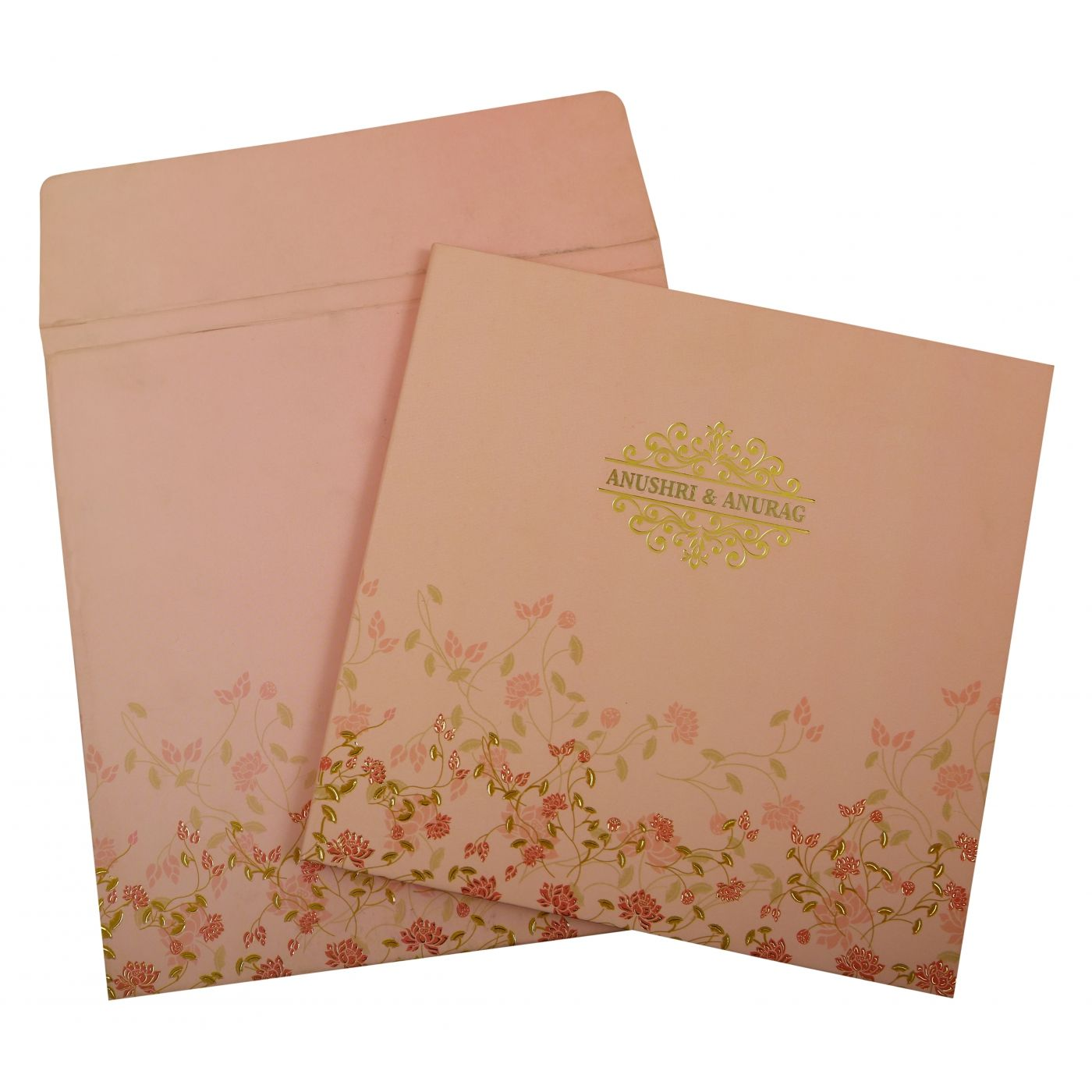 BABY PINK MATTE BOX THEMED - FOIL STAMPED WEDDING INVITATION : CI-1847 - IndianWeddingCards