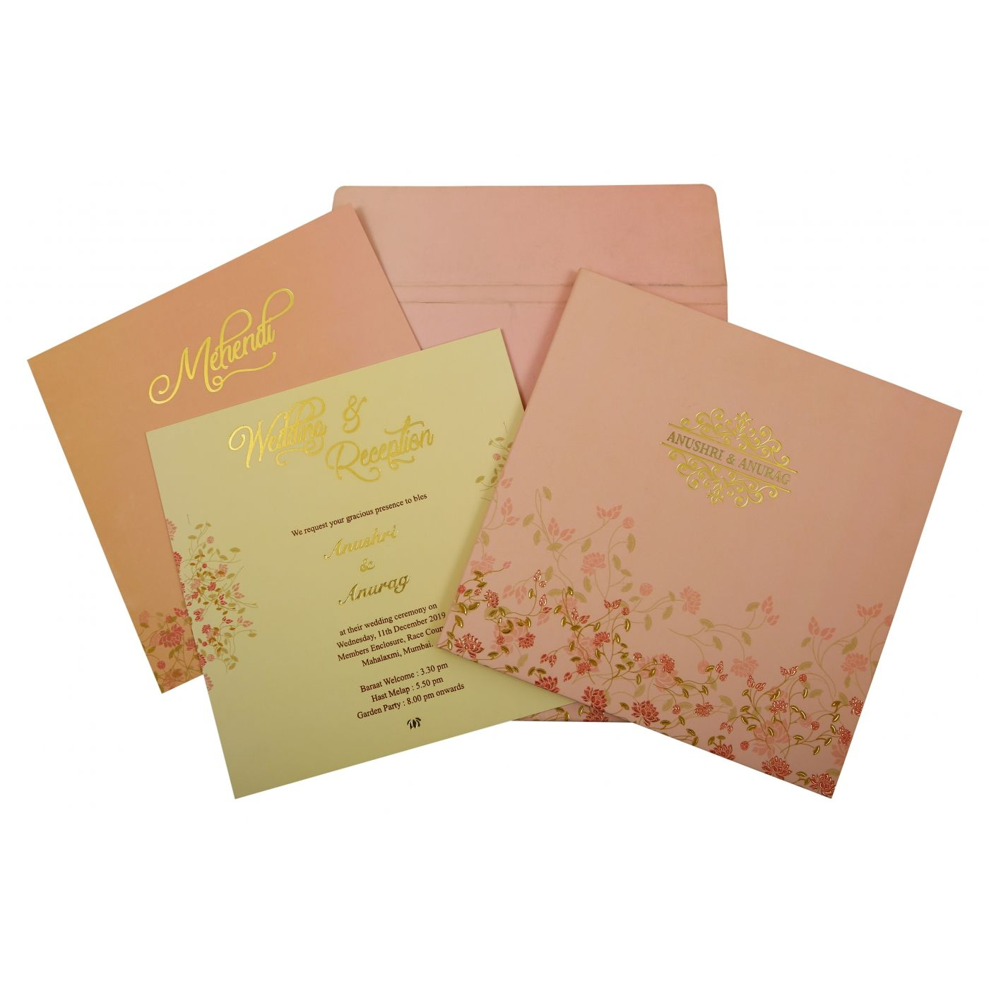 BABY PINK MATTE BOX THEMED - FOIL STAMPED WEDDING INVITATION : CIN-1847 - IndianWeddingCards