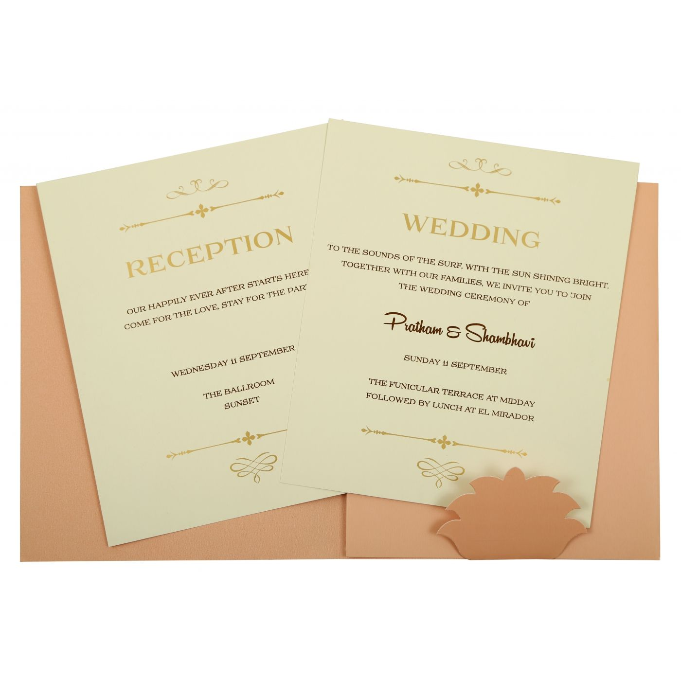 BABY PINK MATTE PAISLEY THEMED - LASER CUT WEDDING INVITATION : CI-1843 - IndianWeddingCards