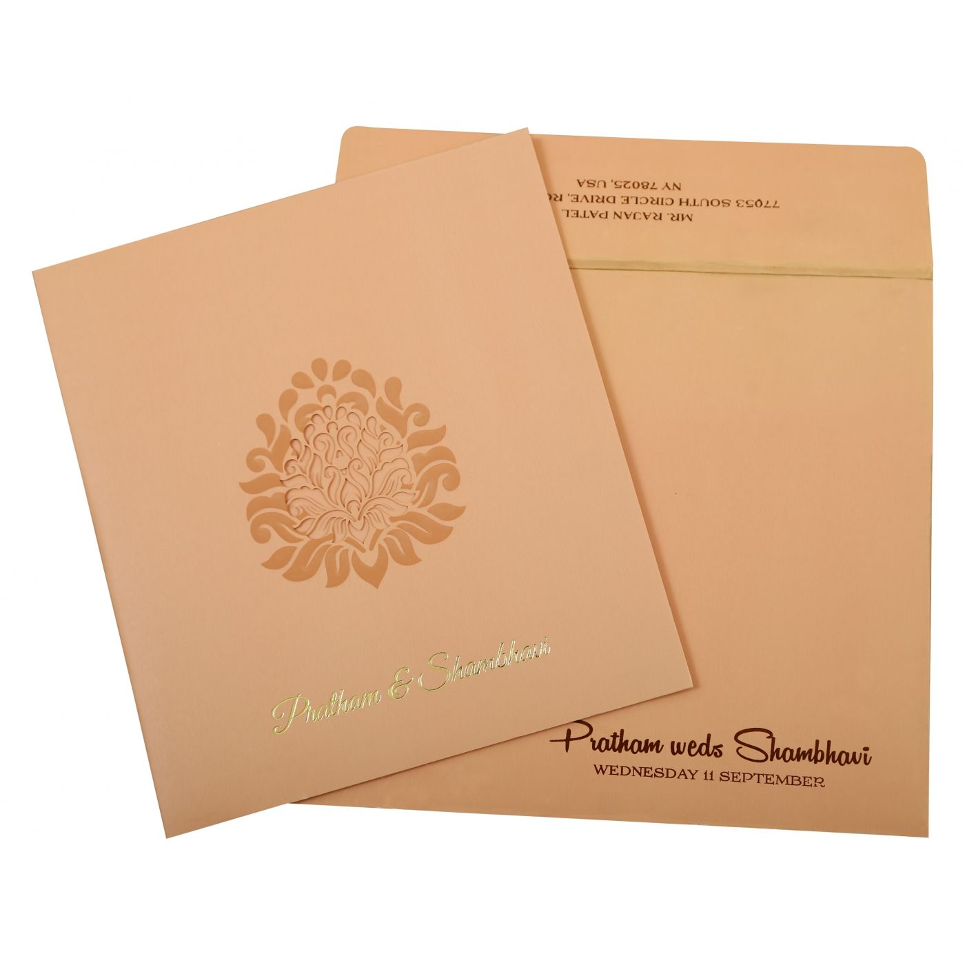 BABY PINK MATTE PAISLEY THEMED - LASER CUT WEDDING INVITATION : CS-1843 - IndianWeddingCards