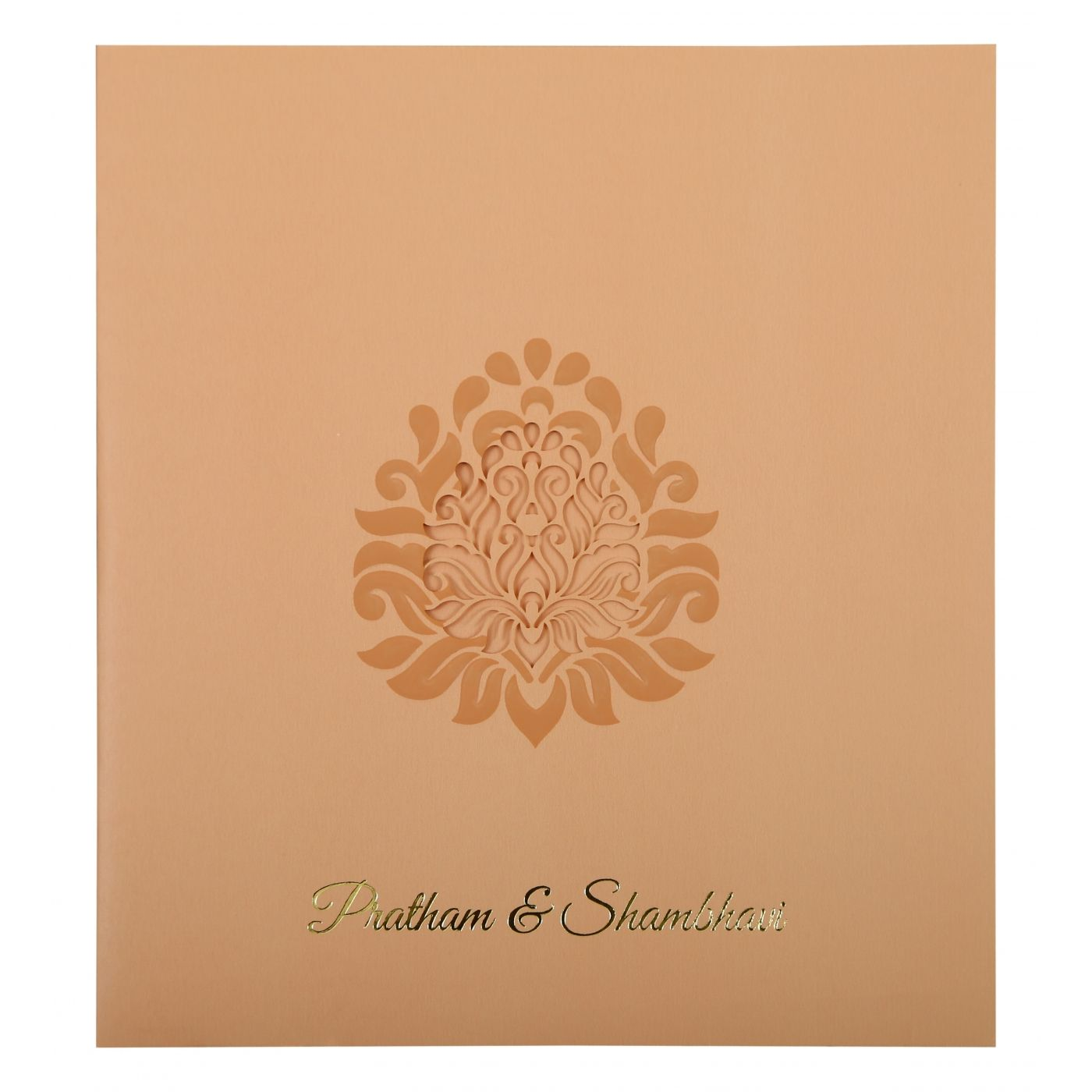 BABY PINK MATTE PAISLEY THEMED - LASER CUT WEDDING INVITATION : CSO-1843 - IndianWeddingCards