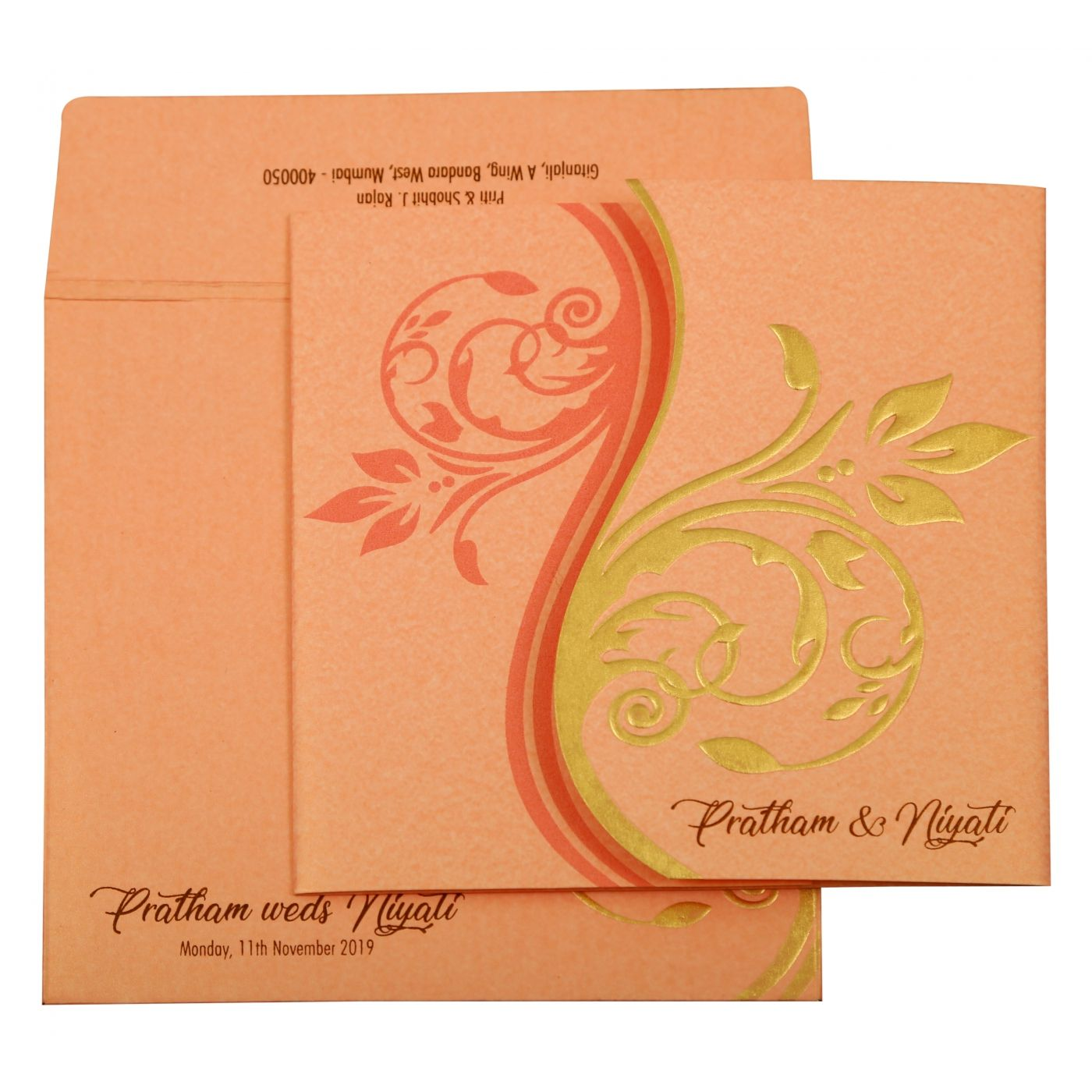 BABY PINK SHIMMERY FLORAL THEMED - EMBOSSED WEDDING INVITATION : CD-1900 - IndianWeddingCards