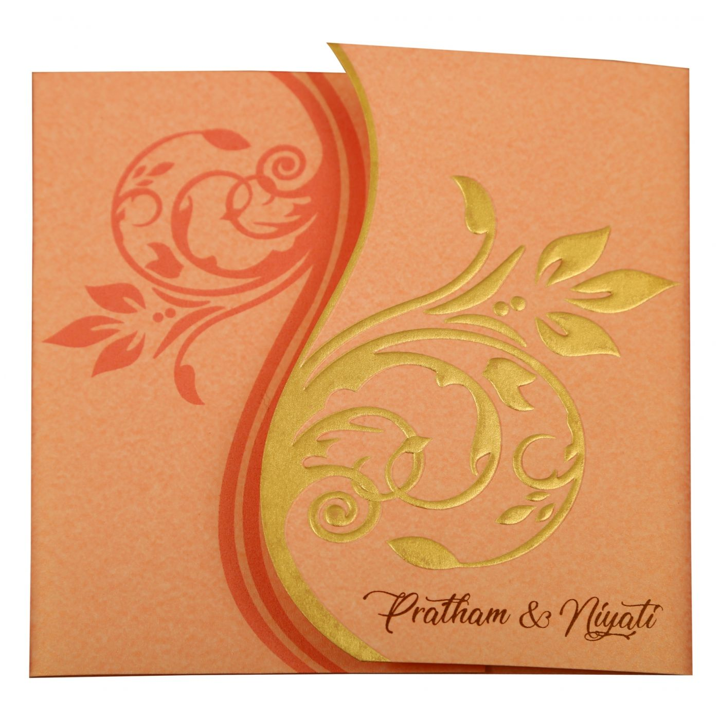 BABY PINK SHIMMERY FLORAL THEMED - EMBOSSED WEDDING INVITATION : CW-1900 - IndianWeddingCards