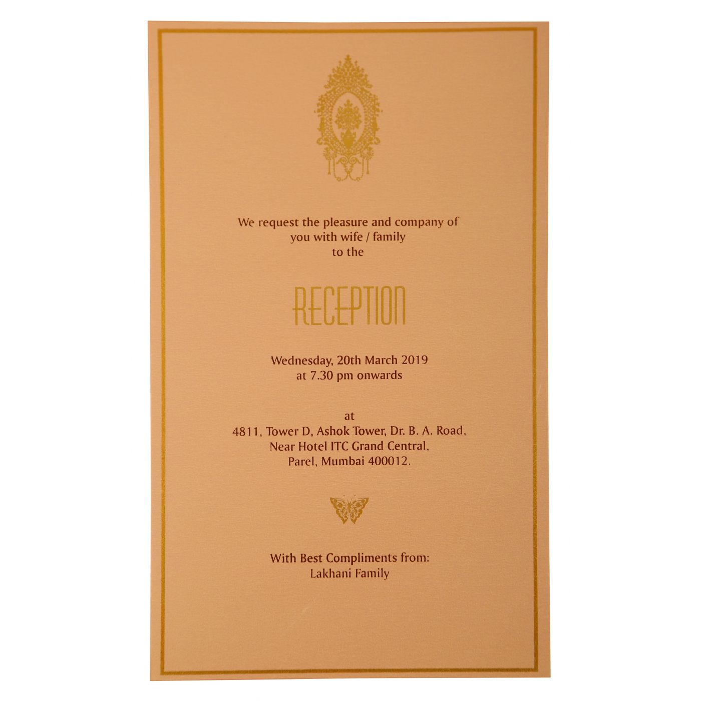 BABY PINK SHIMMERY FLORAL THEMED - FOIL STAMPED WEDDING INVITATION : CW-1921 - IndianWeddingCards