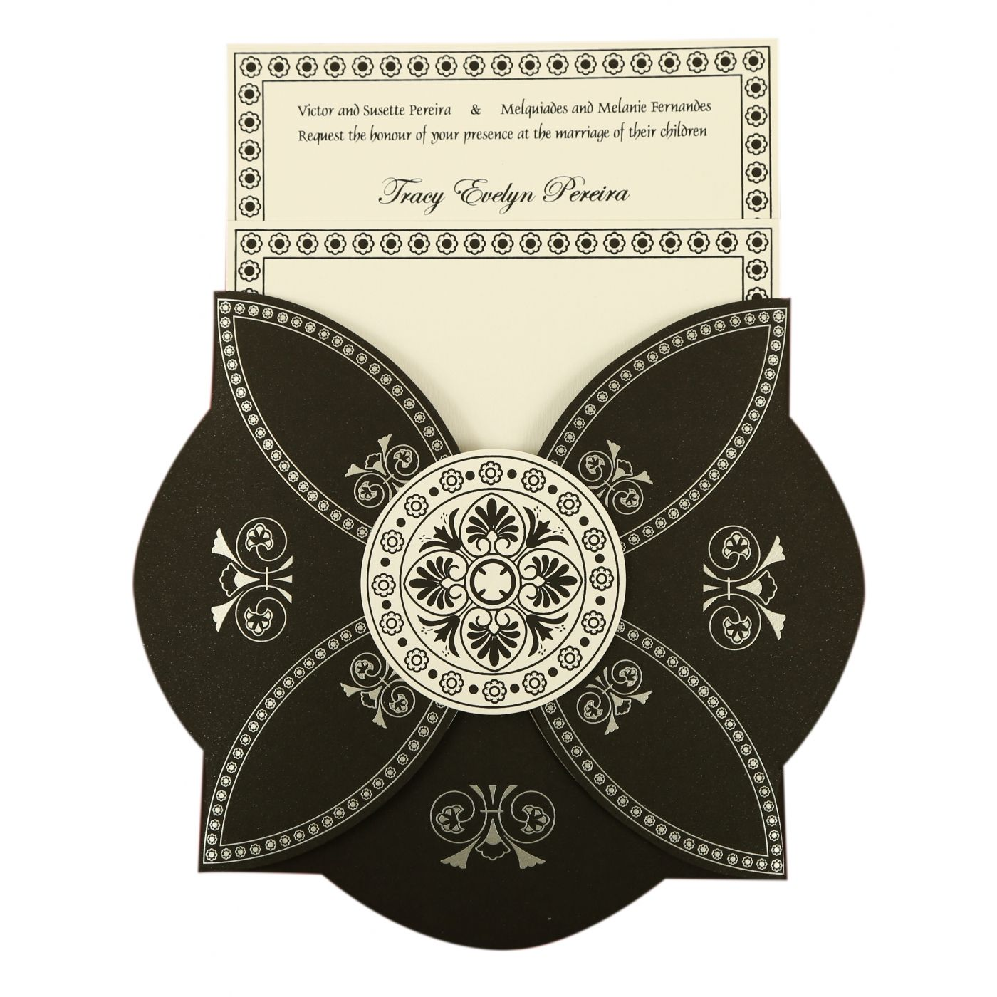 BLACK BUTTERFLY THEMED - SCREEN PRINTED WEDDING INVITATION : CW-820E - IndianWeddingCards
