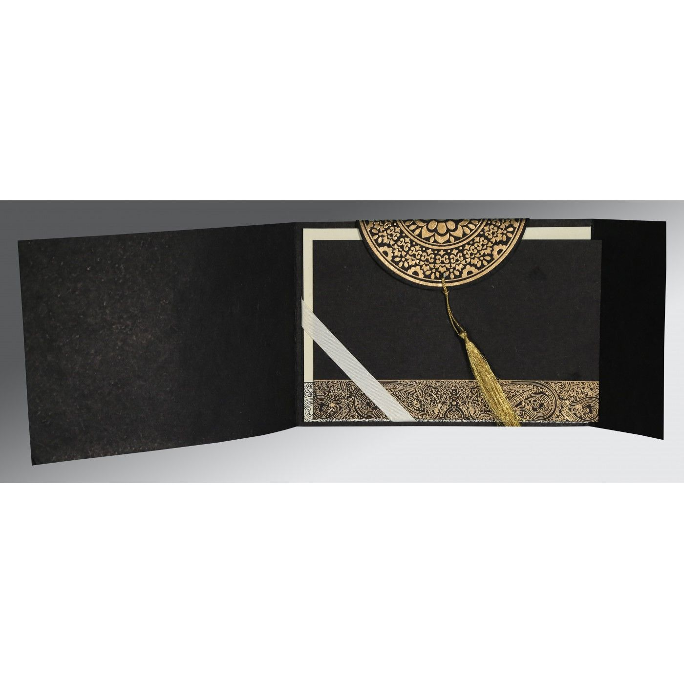 BLACK HANDMADE COTTON EMBOSSED WEDDING CARD : CS-8234A - IndianWeddingCards