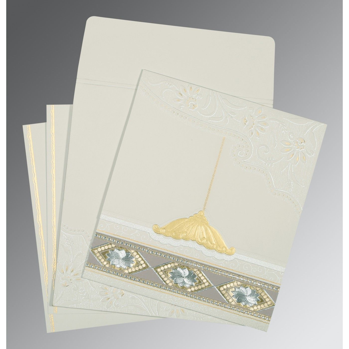 OFF-WHITE MATTE BOX THEMED - FOIL STAMPED WEDDING CARD : CI-1228 - IndianWeddingCards