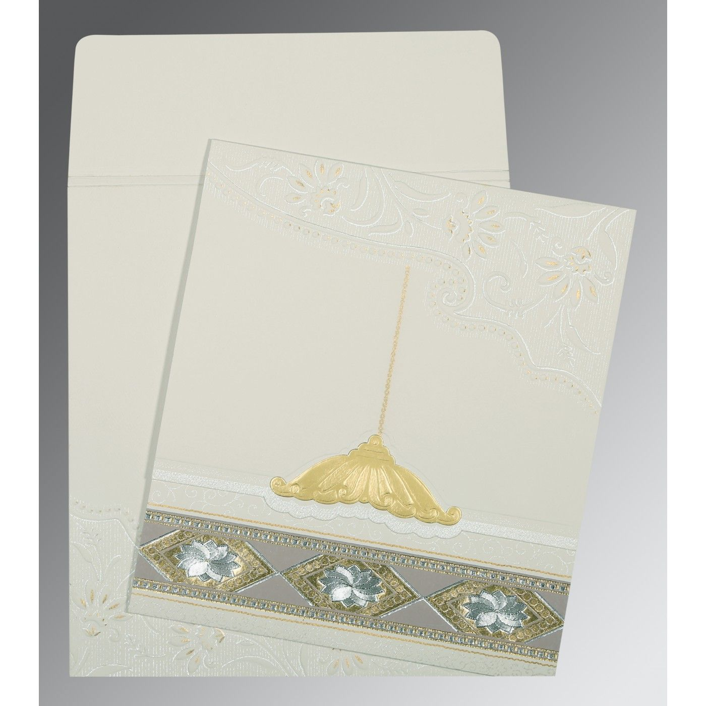 OFF-WHITE MATTE BOX THEMED - FOIL STAMPED WEDDING CARD : CSO-1228 - IndianWeddingCards