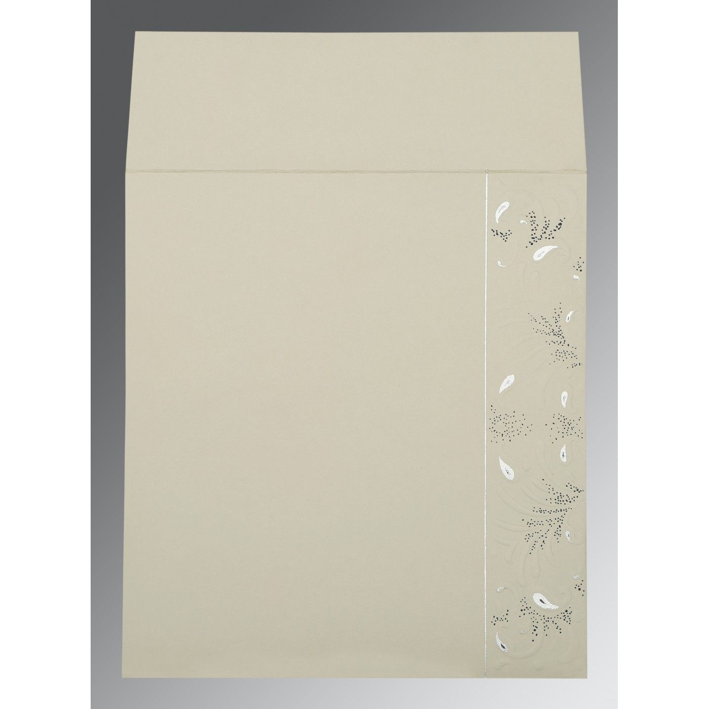 FOSSIL GREY MATTE EMBOSSED WEDDING CARD : CS-1261 - IndianWeddingCards