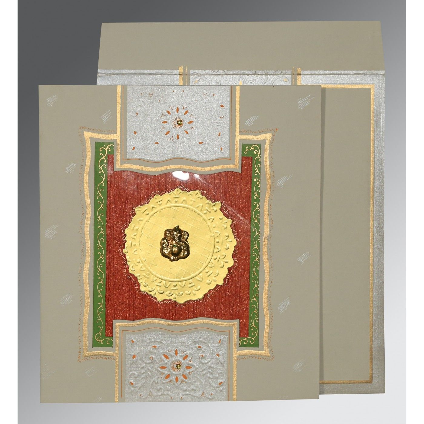 KHAKI MATTE EMBOSSED WEDDING CARD : CW-1144 - IndianWeddingCards