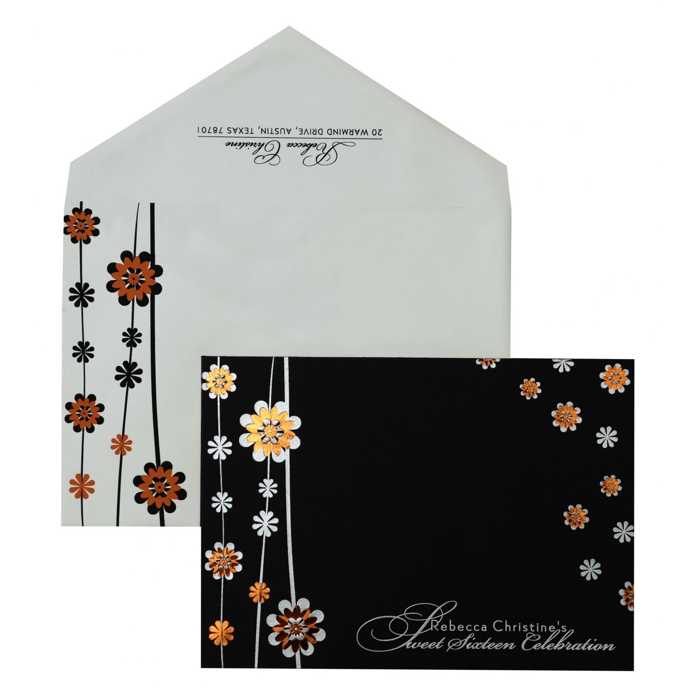 BLACK MATTE FLORAL THEMED - FOIL STAMPED PARTY CARDS : CPY-887 - IndianWeddingCards