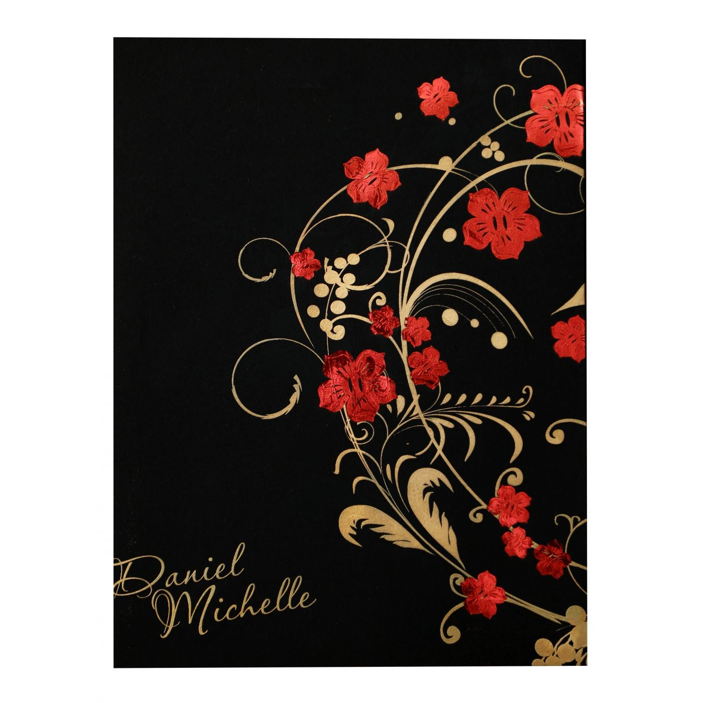 BLACK MATTE FLORAL THEMED - FOIL STAMPED WEDDING INVITATION : CW-836 - IndianWeddingCards