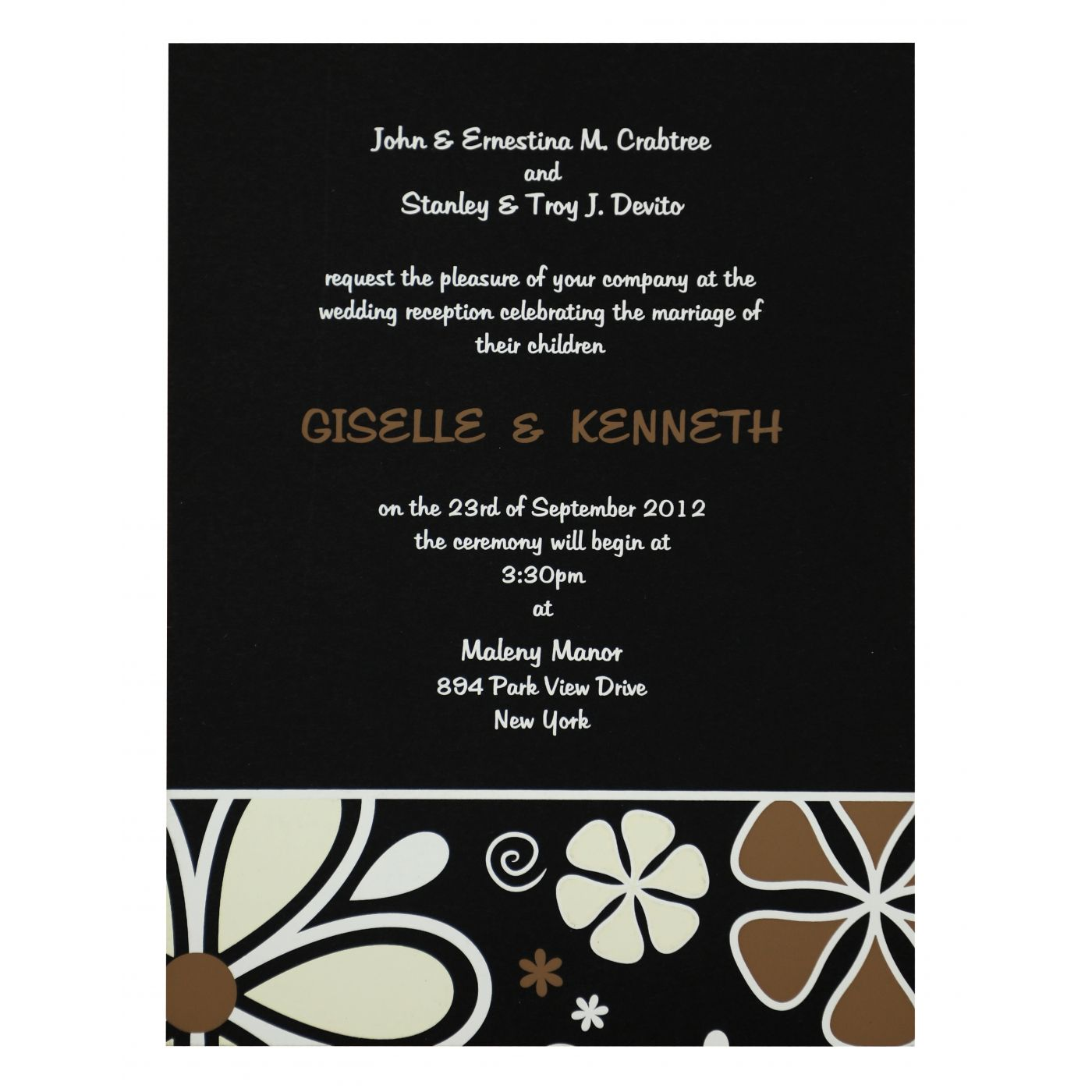 BLACK MATTE FLORAL THEMED - SCREEN PRINTED WEDDING INVITATION : CI-842 - IndianWeddingCards