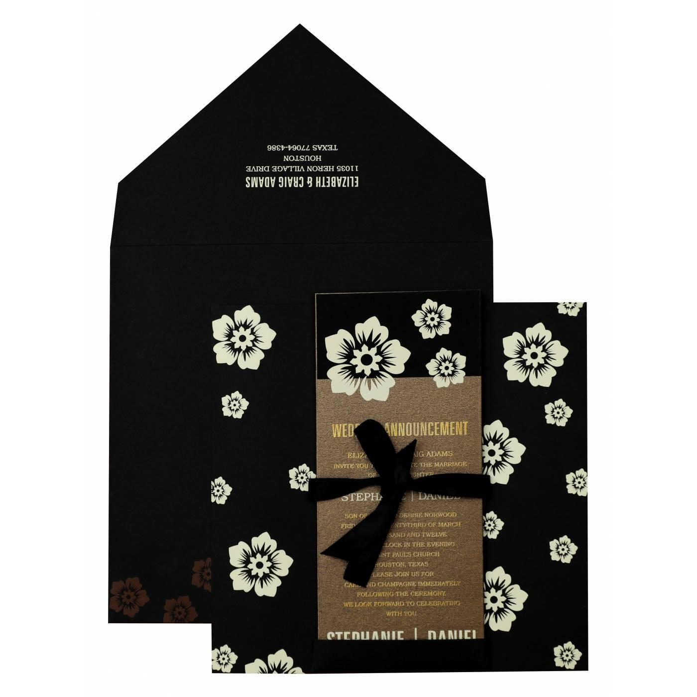 BLACK MATTE FLORAL THEMED - SCREEN PRINTED WEDDING INVITATION : CIN-825 - IndianWeddingCards