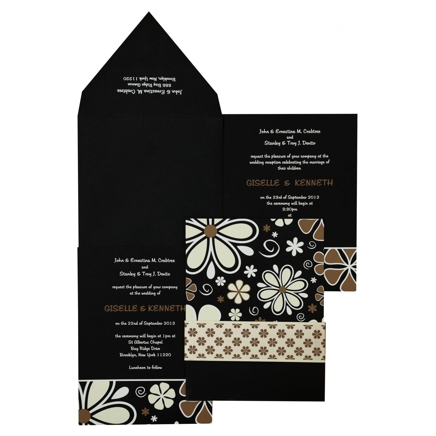 BLACK MATTE FLORAL THEMED - SCREEN PRINTED WEDDING INVITATION : CIN-842 - IndianWeddingCards
