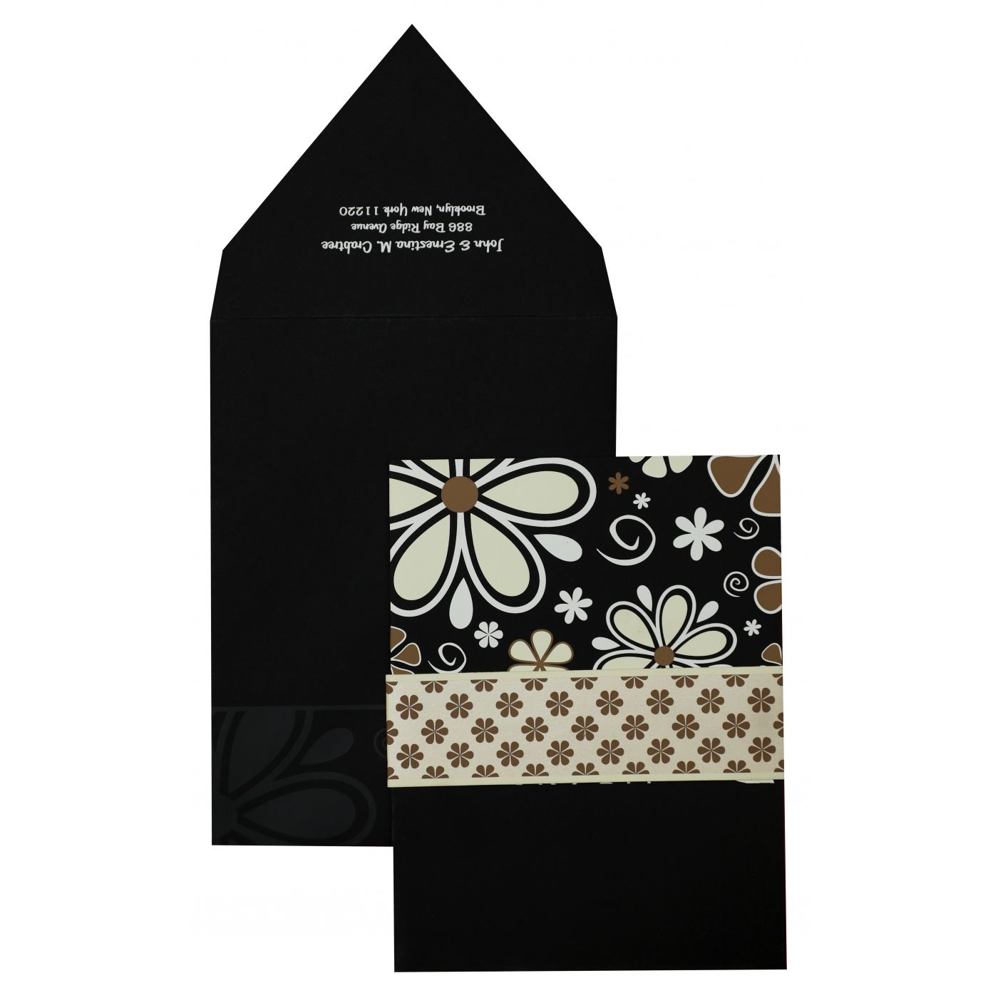 BLACK MATTE FLORAL THEMED - SCREEN PRINTED WEDDING INVITATION : CSO-842 - IndianWeddingCards