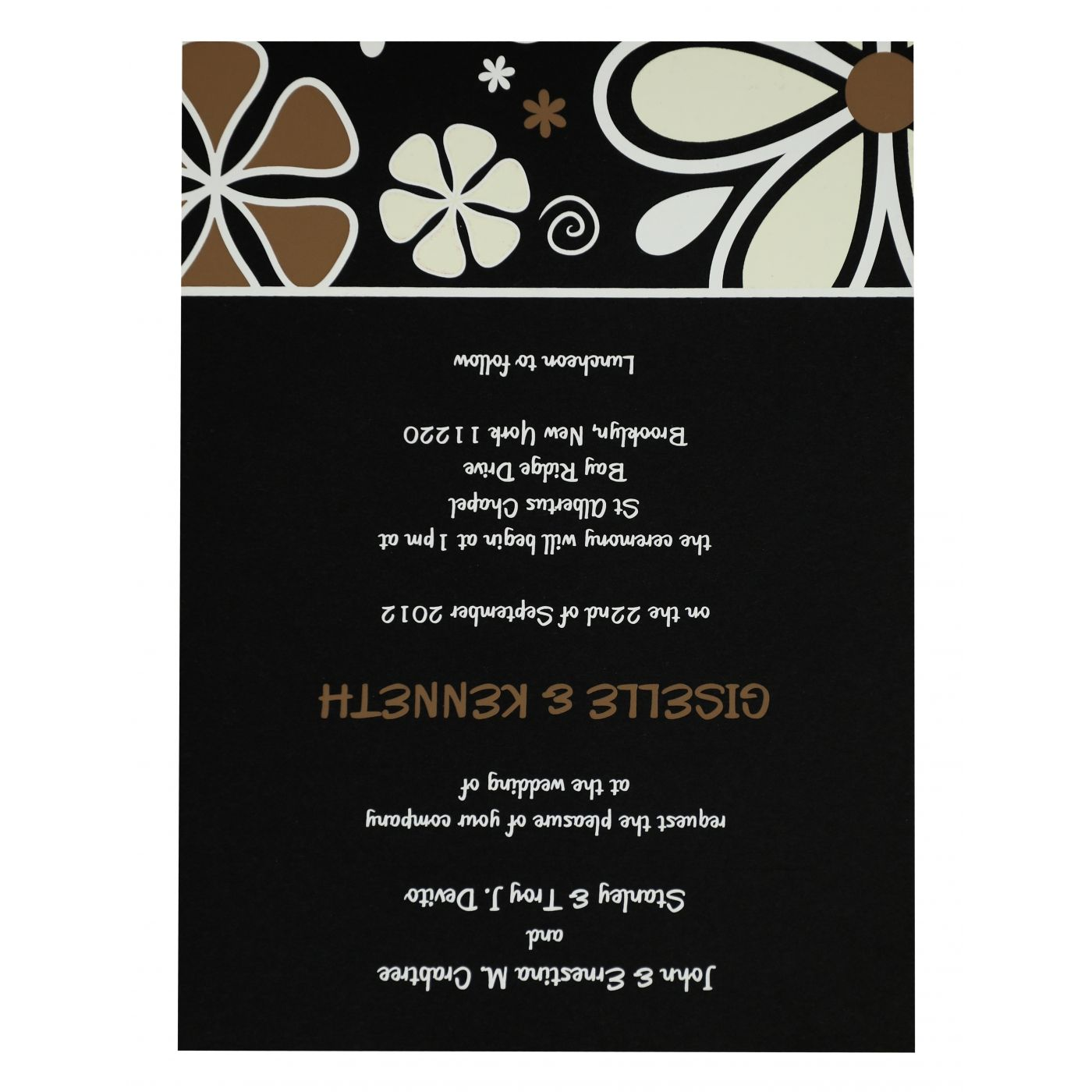 BLACK MATTE FLORAL THEMED - SCREEN PRINTED WEDDING INVITATION : CW-842 - IndianWeddingCards