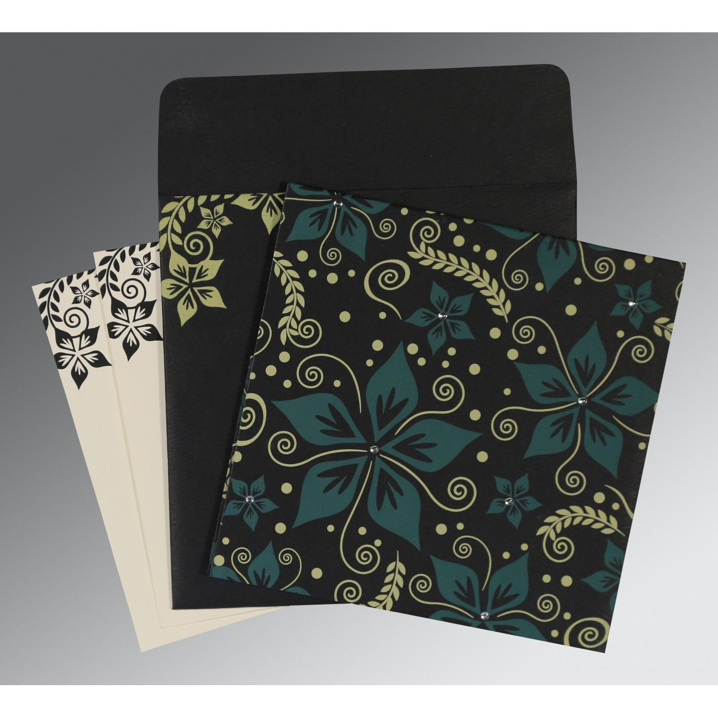 BLACK MATTE FLORAL THEMED - SCREEN PRINTED WEDDING INVITATION : CD-8240A - IndianWeddingCards