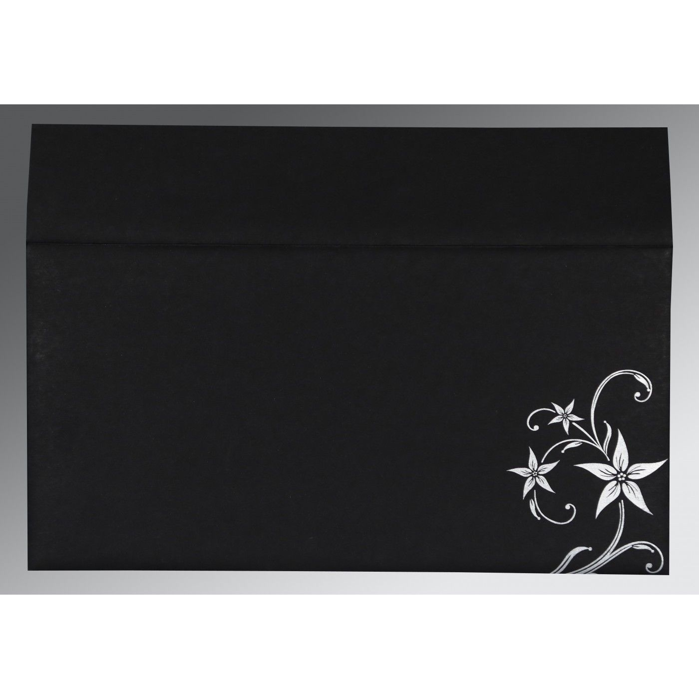 BLACK MATTE FLORAL THEMED - SCREEN PRINTED WEDDING INVITATION : CS-8225A - IndianWeddingCards