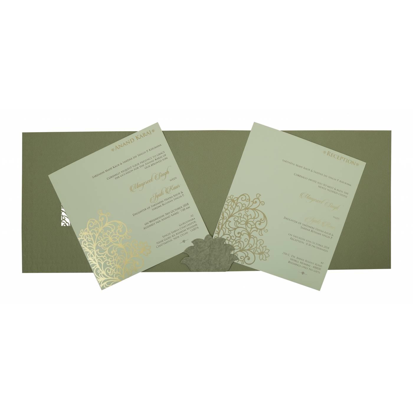 SAGE GREEN MATTE FLORAL THEMED - LASER CUT WEDDING INVITATION : CG-1809 - IndianWeddingCards