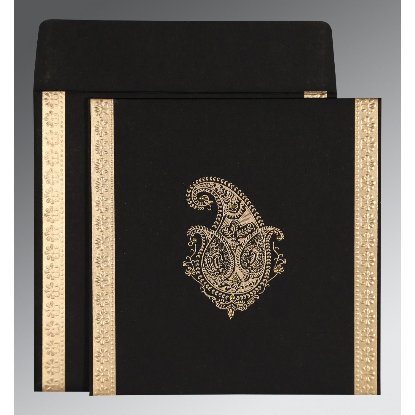 BLACK MATTE PAISLEY THEMED - EMBOSSED WEDDING INVITATION : CD-8231I - IndianWeddingCards