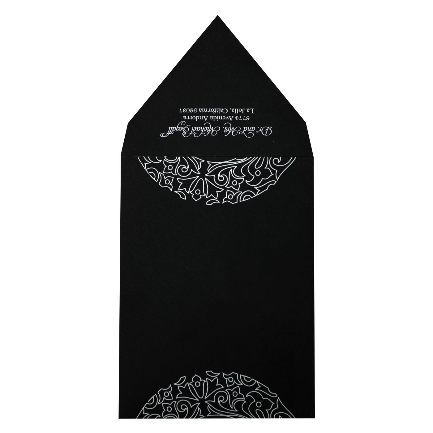 BLACK MATTE PAISLEY THEMED - SCREEN PRINTED WEDDING INVITATION : CD-830 - IndianWeddingCards