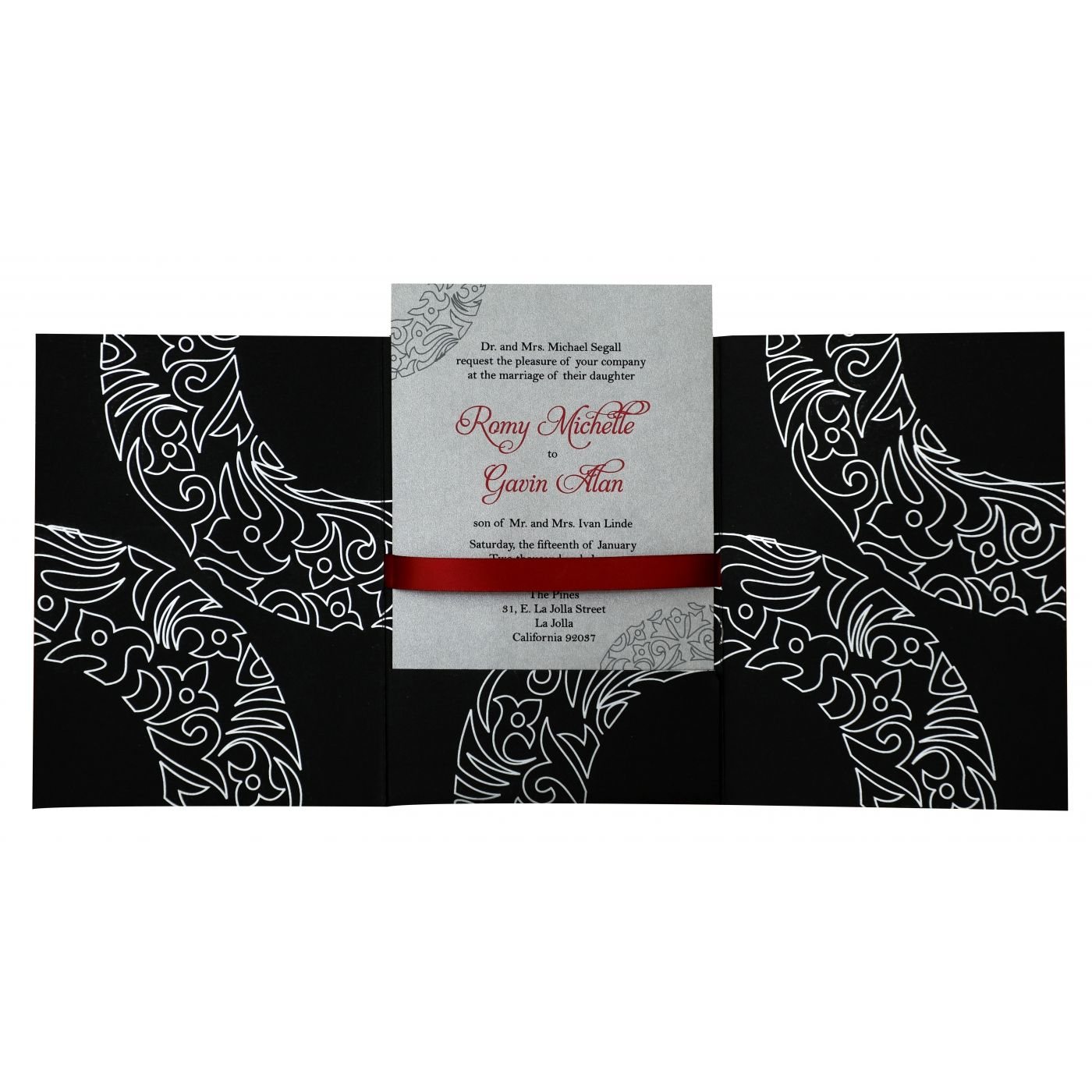 BLACK MATTE PAISLEY THEMED - SCREEN PRINTED WEDDING INVITATION : CIN-830 - IndianWeddingCards
