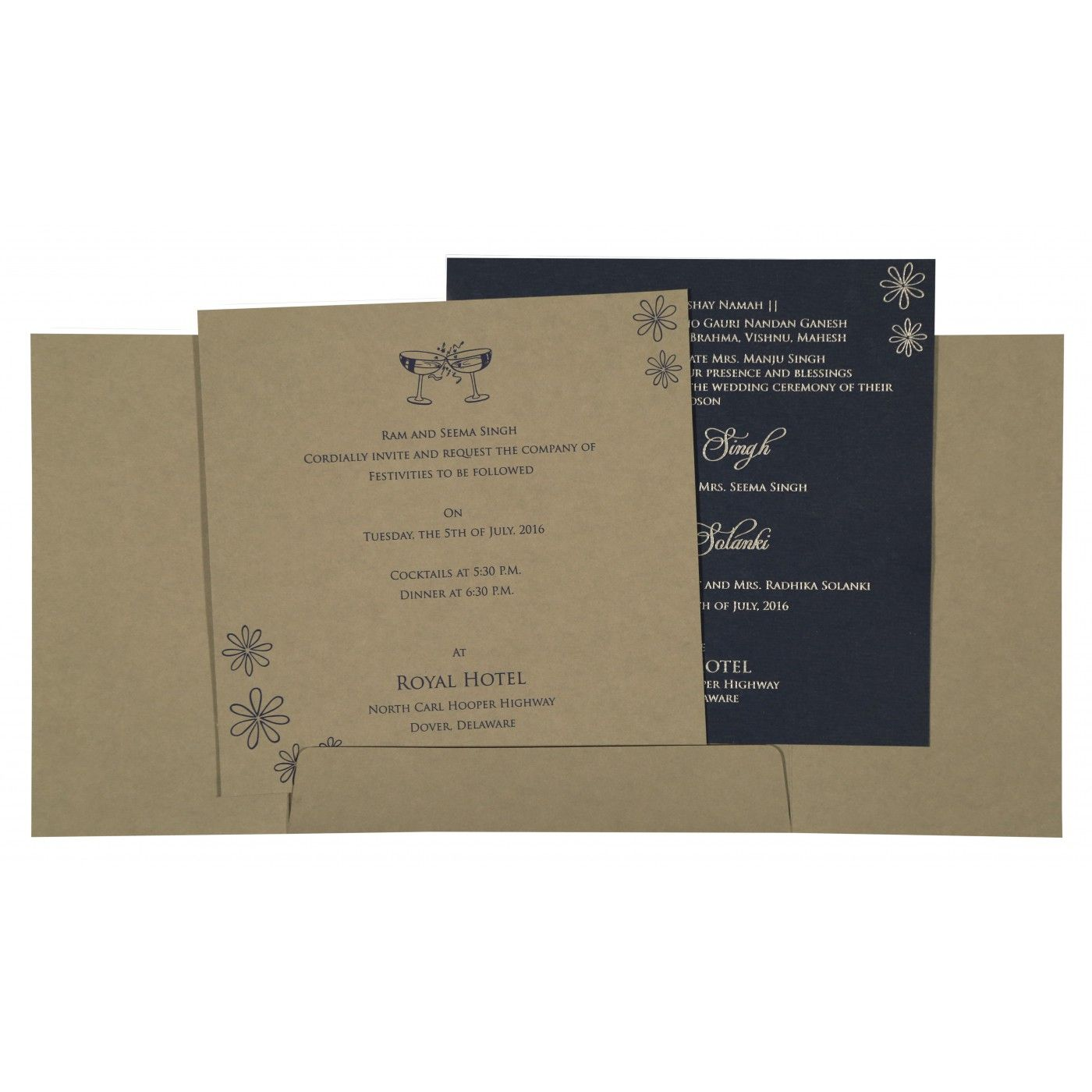 DARK GRAYISH BLUE MATTE SCREEN PRINTED WEDDING INVITATION : CIN-8263F - IndianWeddingCards