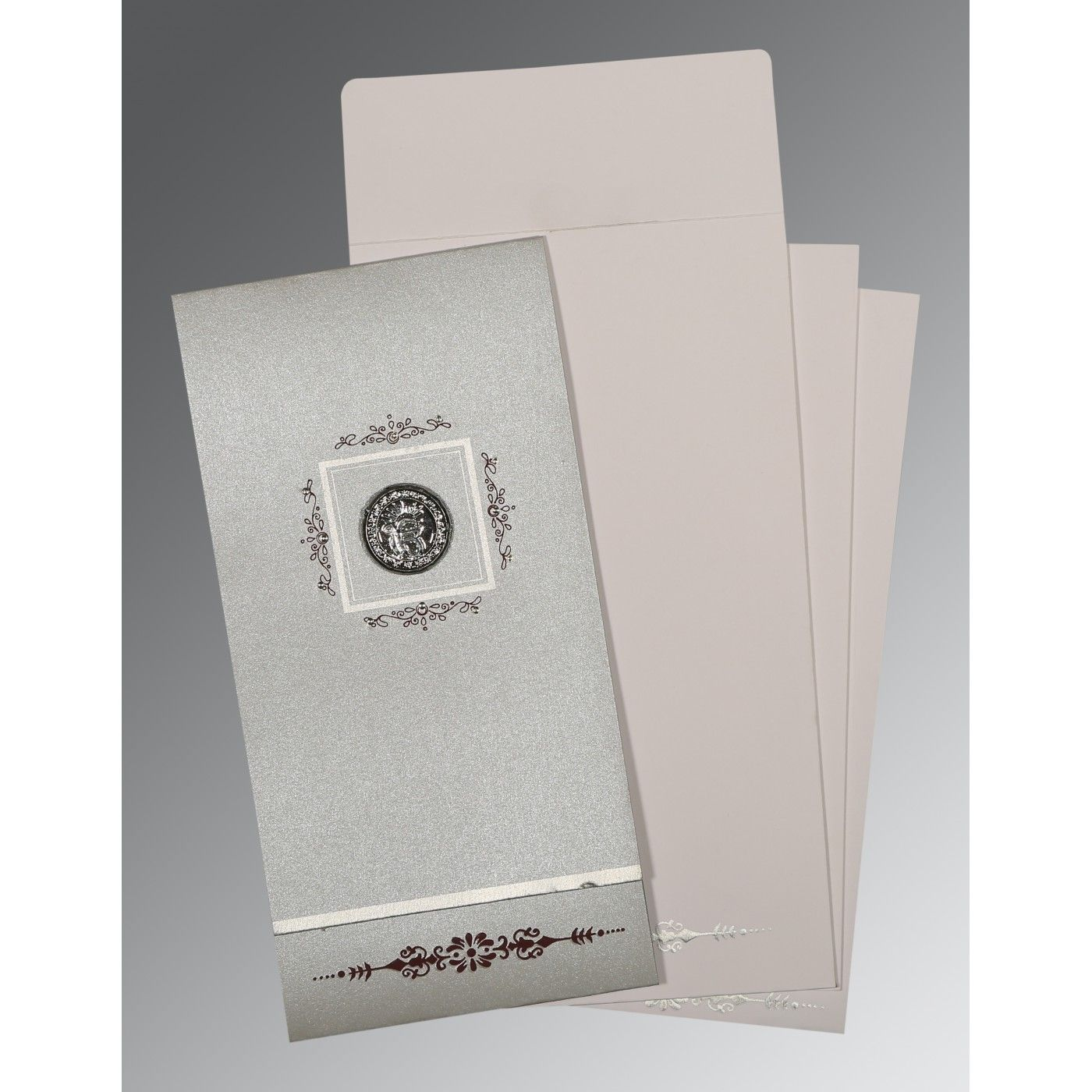 LIGHT GREY SHIMMERY EMBOSSED WEDDING CARD : CS-1427 - IndianWeddingCards