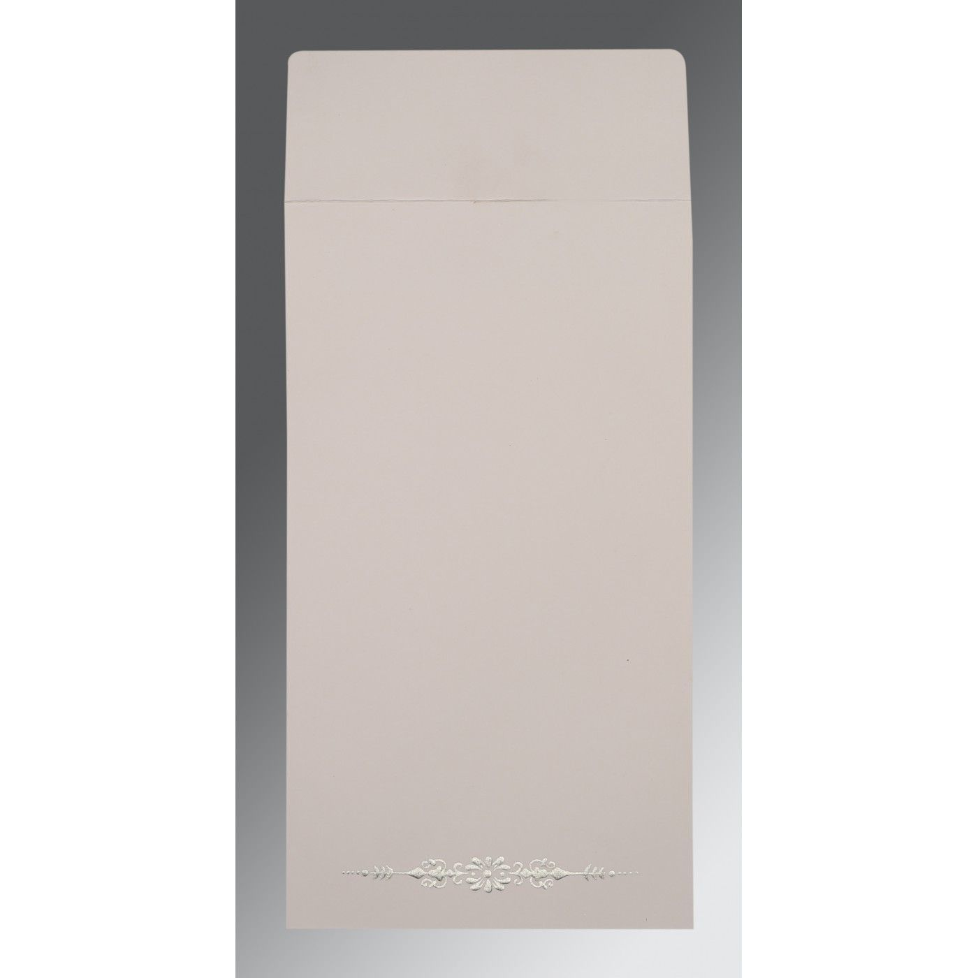 LIGHT GREY SHIMMERY EMBOSSED WEDDING CARD : CSO-1427 - IndianWeddingCards